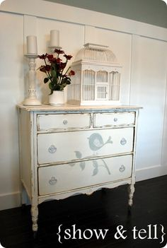 Really like the little bird!==After looking through all my post..I will paint the dresser a soft white with light blue/grey stencil similar to this.  Paint the drawer interiors the same white and exterior the blue/grey color.  Paint bookcase soft white.  Back wall the blue/grey color.