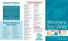 PWPLS Welcome Brochure Won ALA PR Exchange award Brochures, Graphic Design, Catalog, Visual Communication
