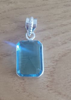 Small Rectangular Faceted Blue Topaz Gemstone Pendant - 925 Silver Topaz Gemstone, Gemstone Bracelets, Blue Topaz, 925 Silver, Dog Tag Necklace, Euro, Pendants, Gemstones, Jewelry