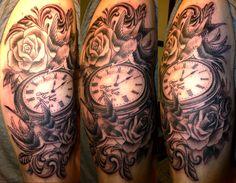 Swallows and pocket watch tattoo - 100 Awesome Watch Tattoo Designs Mom Tattoos, Cute Tattoos, Body Art Tattoos, Sleeve Tattoos, Tatoos, Clock Tattoos, Broken Clock Tattoo, Clock And Rose Tattoo, Mark Tattoo