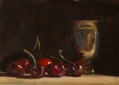 daily painting titled Cherries and silver goblet - click for enlargement