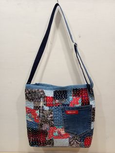 Denim Purse, Tote Purse, Crossbody Bag, Patchwork Bags, Quilted Bag, Patchwork Patterns, Crazy Patchwork, Crotchet Patterns, Patchwork Designs