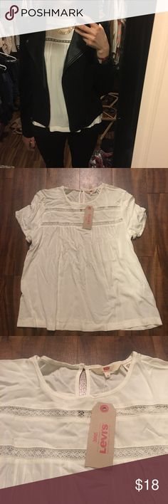 Levi's White Blouse Adorable shirt from Levi's. Never worn except to model in photo. New with tags. High quality. Do expect it to arrive with wrinkles because it's wrinkles easily! #levis #levi #whitetop Levi's Tops Blouses