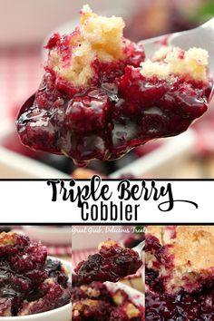 Triple Berry Cobbler Triple Berry Cobbler is made with delicious summer berries, fresh blackberries, blueberries and raspberries, and has a cake like topping that is both crunchy and delicious. Blueberry Raspberry Recipes, Raspberry Cobbler, Fruit Cobbler, No Cook Desserts, Sweets Recipes, Delicious Desserts, Cooking Recipes, Yummy Food, Triple Berry Cobbler