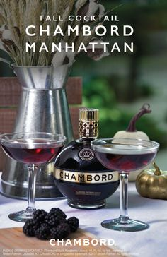 How to make a chambord manhattan Pinkies up! This sophisticated drink idea for a Chambord Manhattan has everything you look for in a classy fall cocktail recipe. Chambord Black Raspberry Liqueur, Woodford Reserve®, and bitters get stirred together to make Bar Drinks, Cocktail Drinks, Yummy Drinks, Alcoholic Drinks, Beverages, Cocktail Ideas, Chambord Cocktails, Cocktail Maker, Bourbon Cocktails