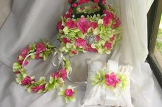 flower girl basket ring bearer pillow floral by TheCrystalFlower, $289.00