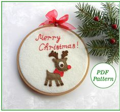 PDF pattern, Reindeer christmas ormament, Hoop Art Pattern, Hand Embroidery Pattern, easy sewing pattern, by MagicPatternShop on Etsy https://www.etsy.com/listing/249244644/pdf-pattern-reindeer-christmas-ormament