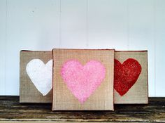 Heart Burlap Sign Picture Valentines Day Heart Home Decor by SweetThymes, $50.00