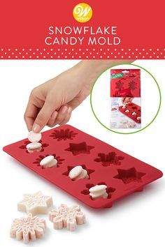 Create beautifully detailed candy to give as gifts or serve at holiday parties using this silicone Snowflake Candy Mold. It's easier than ever because the silicone mold is microwave safe. Just Stack-N-Melt? Candy Melts candy right in the mold, melt in the microwave and serve! Makes 8 candies. #wiltoncakes #candy #candydecorating #candymaking #candymelts #silicone #siliconemolds #bakingmolds #holidaycandy #christmascandy #candyideas #christmasdesserts #gifting #candygifting Candy Molds Silicone, Silicone Chocolate Molds, Chocolate Candy Molds, Chocolate Fondant, Chocolate Desserts, Melting Chocolate, Holiday Candy, Christmas Candy, Holiday Parties