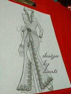 #kebayamodern #kebayapanjang #longkebaya #batik Kebaya, Designs To Draw, Sketch, Drawings, Illustration, Modern, Fashion Design, Art, Block Prints