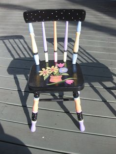 Children's Hand Painted flower Chair by paintedbybecky on Etsy, $150.00