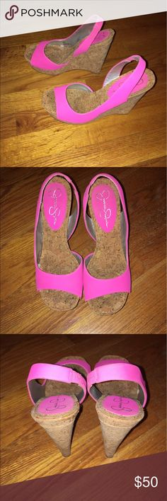 Jessica Simpson Pink Wedge Heels Size 7 Size 7.  No box.  Never worn, only around the house.  Stored on shoe rack. Jessica Simpson Shoes Wedges