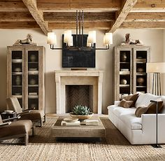LOVE the coffee table, chairs, couch and lights Aspen French Oak Metal Rail Square Coffee Table Restoration Hardware Living Room, Restoration Hardware Lighting, Living Room Designs, Living Room Decor, Oak Living Room Furniture, Furniture Risers, Living Rooms, Sala Grande, Lounge Chair