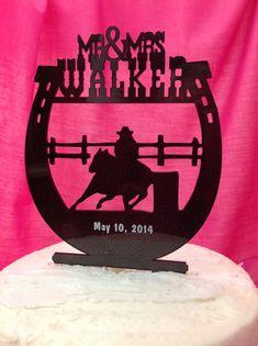 Personalized Monogram Country Western Horseshoe Cowboy Horse Acrylic Custom Mr & Mrs Last Name Surname Wedding Cake Topper on Etsy, $29.75