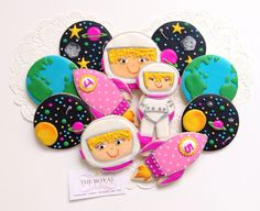 Astronaut Party Cookies for Girls Qatar Best Decorated Cookies Homemade DIY Outer space party