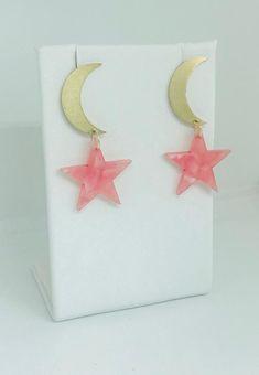 Moon and pink stars drop earrings - fashion earrings