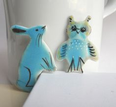 Hare  Handmade and Handpainted Porcelain Brooch by houseofharriet, $29.00