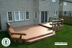 deck designs | This deck plan is for a large, low, 2-level deck.