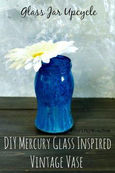 Glass jar easy upcycle  , DIY Mercury Glass Inspired Vintage Vase #EasyCenterPieceIdea, #Decorations,#DIY