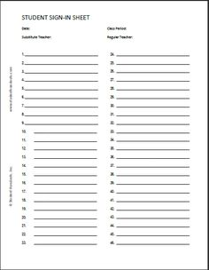 Free Blank Printable Student Sign-in Sheet with 35 Rows