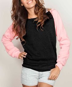 Another great find on #zulily! Black & Pink Raglan Boatneck Sweatshirt #zulilyfinds