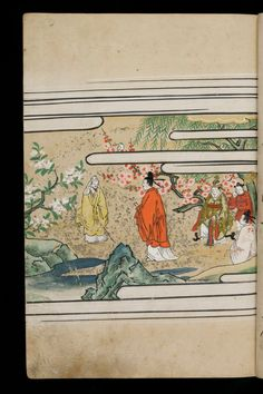 Japenese manuscript representing the Life of Buddha (Shaka no Honji). It's a Nara picture book. An old wise man in yellow is near a pond. The nature (flowers, trees, water) is luxurious. Five characters waring nice kimono come near him. #Japan #Manuscript #picturebook #buddha #nature #kimono