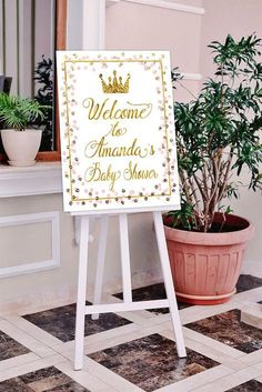 Baby Shower Welcome sign Princess Welcome sign Pink Gold