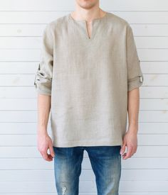 Linen mens shirt with long sleeves. Simple style in beige color with roll up… Mens Tunic, Kids Outfits, Cool Outfits, Vetements Clothing, Minimal Outfit, Boys Wear, Simple Shirts, Summer Shirts, Boy Fashion
