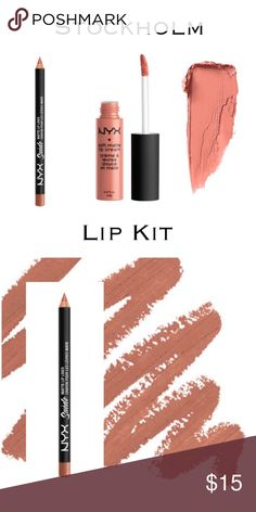 Matte Lip Cream & Suede Liner Versatile Nude NYX SOFT MATTE LIP CREAM - STOCKHOLM (mid-tone beige pink) Super popular, compared to Kylie. Velvety smooth Soft Matte Lip Cream delivers a burst of creamy color and sets to a stunning matte finish. Surprisingly durable, lightweight and delightfully creamy, this sweetly scented formula is a fan favorite. NYX SUEDE MATTE LIP LINER - STOCKHOLM  goes on super smooth and provides the perfect base for matte lip cream. Swatch picture courtesy of…