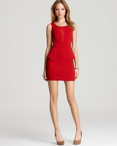 GUESS red peplum dress. Can't wait to wear this to my cousins wedding