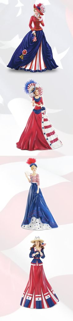 Celebrate the spirit of America in style with this Thomas Kinkade patriotic lady figurine collection. 'O say, can you see a favorite here?