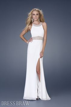 White Scoop Neckline Floor-Length Evening Dresses: Dressbraw.com