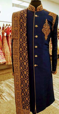 dark blue sherwani with zardosi sherwani.To order this whatsapp us on . Sherwani For Men Wedding, Wedding Dresses Men Indian, Groom Wedding Dress, Groom Dress, Men Dress, Wedding Jacket, Punjabi Wedding, Indian Weddings, Wedding Suits