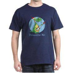 Cafepress Personalized Rockin Christmas Dino Dark T-Shirt, Men's, Size: Small, Blue