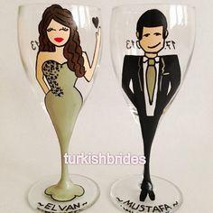 Kişiye özel hazırlanmış kadehler <3 Custom painted wine glasses