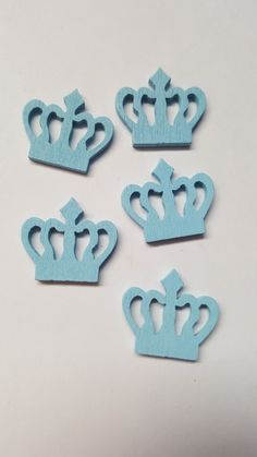 10 x Painted Wooden Shapes - 23mm - Crown - Pale Blue