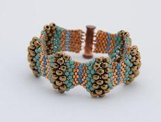 Bronze and Copper Peyote Bracelet - Peyote Stitch - Beadwoven Cuff Bracelet…