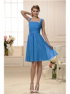 Royal Blue Knee-Length Square Neckline A-Line Bridesmaid Dress Junior Prom Dresses- ericdress.com 10584599