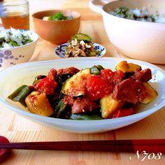*ゴロゴロ夏野菜と豚ヒレ肉の味噌炒め *鶏胸肉ときゅうりの中華和え *小松菜と油揚げの味噌汁 *広島菜の混ぜご飯