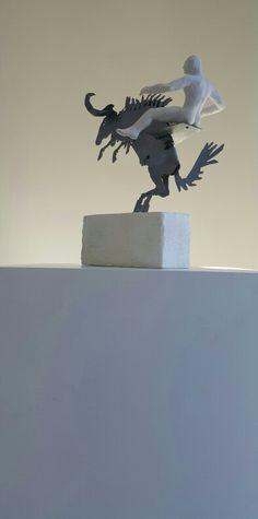 Rudolf Bitzer: wild, wild ride! Mild steel & polyurethane cast figure Small Sculptures, Statue Of Liberty, Lion Sculpture, It Cast, Steel, Art, Statue Of Liberty Facts, Art Background, Statue Of Libery
