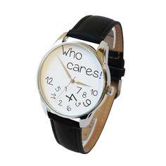 'Who Cares!' Wristwatch - White and Black   ZIZ iz TIME