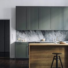 We love food - both cooking it and eating it!Our kitchen have the same quality and design standard as our furniture which makes it both functional and nice to look at. This kitchen is in the model RAM, in color Green Khaki with Nuvolato Marble, Interiordecoration and planning  by our talented colleague @victorohlsson in ASPLUND Studio. Photo by @inredningsfotografen. ☕️ (3 photos) #asplund #asplundkök #asplundstudio