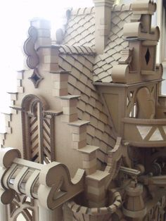 very detailed cardboard castle