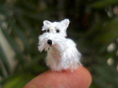 Miniature White Schnauzer - Micro amigurumi Tiny Crochet Dog - Made To Order
