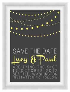 Printable Postcard Save the Date  Lights  by BonMotPhraseology, $15.00
