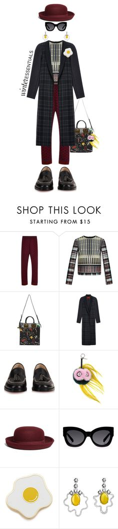 """""""Over Easy"""" by kathyaalrust ❤ liked on Polyvore featuring Clover Canyon, Sophie Hulme, Christian Louboutin, Fendi, Brooks Brothers, Karen Walker, Georgia Perry, women's clothing, women and female"""