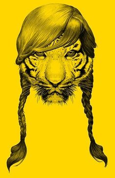 animal, animal head, animals, art, awesome, badass, beasts, braid, cat, color, cool, digital, drawing, feline, girl, graphic, graphic design, hair, head, hip hair, inspiration, line, lion, miss tiger, ochre, pony tails, tiger, tiger illustration tshirt