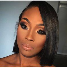 You want your hair to slay like hers? Shop our HUMAN HAIR wigs, closures, frontals and bundles NOW! Makeup For Black Skin, Black Girl Makeup, Girls Makeup, Glam Makeup, Bridal Makeup, Beauty Makeup, Hair Makeup, Hair Beauty, Flawless Face Makeup