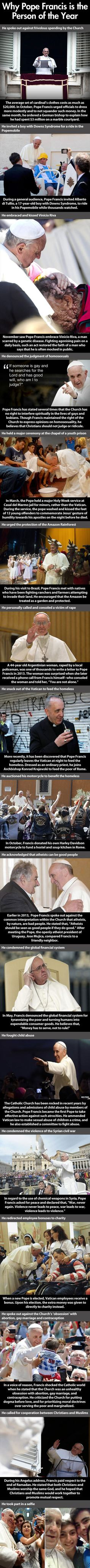 Pope Francis is restoring my faith in the Catholic Church (I have been a lapsed Catholic for almost 20 years).  Great to see his love of all.
