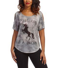 Look at this #zulilyfind! Gray 'My Spirit Animal Is a Unicorn' Cutout Tee by Citi Life #zulilyfinds